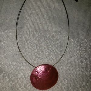 Jewelry - Short Wire Necklace with Pink Shell Pendant